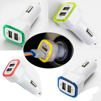 LED Dual USB Car Charger 2 Port Adapter Cigarette Socket Lighter For Cell Phone 3