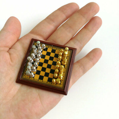 Dollhouse Miniature 1:12 Toy Metal Silver & Golden Chess and Board Set Play Game 8
