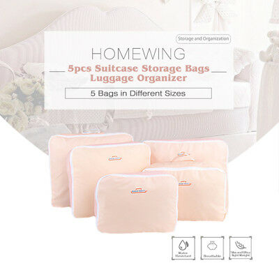 5Pcs Packing Cubes Travel Pouches Luggage Organiser Clothes Suitcase Storage Bag 3