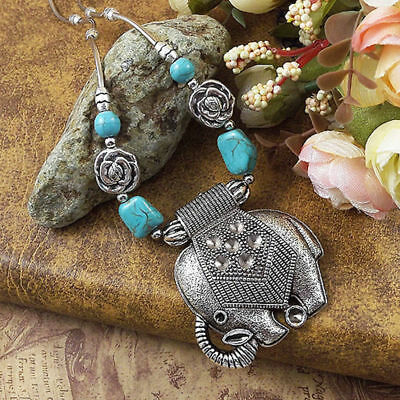 20 style Vintage Women's Tibetan Silver Turquoise Beads String Pendant Necklace 4