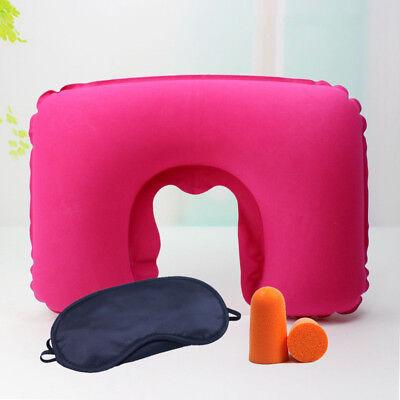 Portable Inflatable Flight Pillow Neck U Rest Air Cushion Eye Mask  Earplug 11