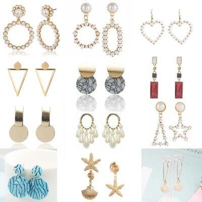 Women Metal Simple Geometric Circular Marble Drop Long Earrings Vintage Ear Stud 2