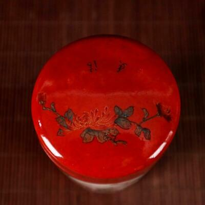 Chinese old Handmade painting red flowers and birds porcelain Tea caddy pot 4