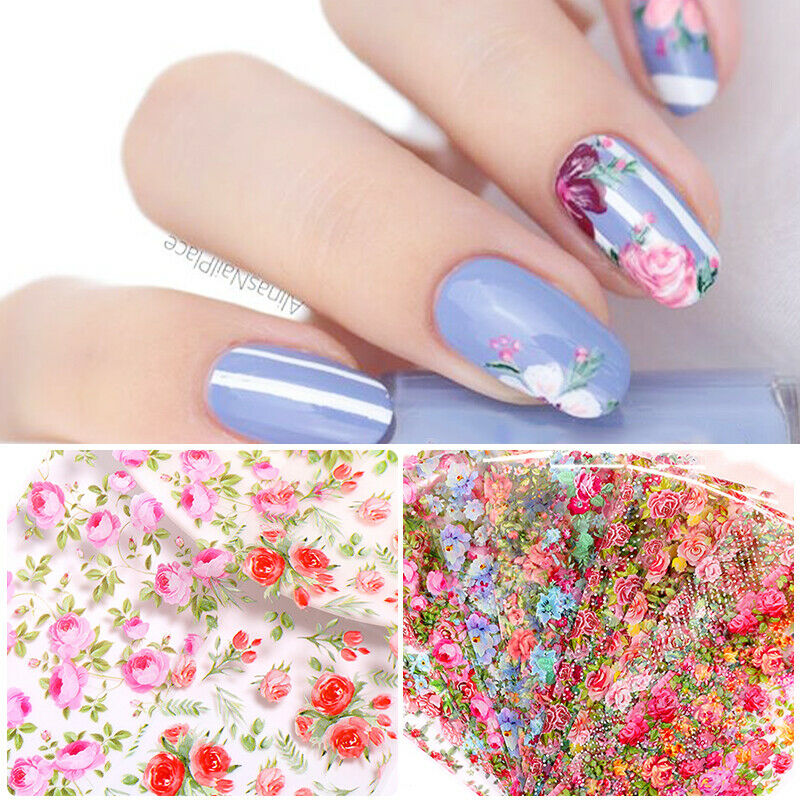 10 Sheets Nail Art Foils Stickers Flower Pattern Transfer Decals Decoration DIY 9