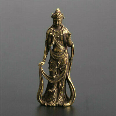 Chinese collection handwork bronze Guanyin Bodhisattva Exquisite Small statue 4