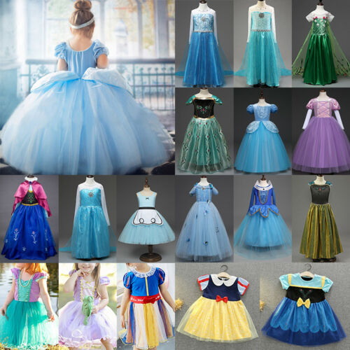 Princess Belle Cinderella Costume Party Gown Dress Frozen Girl Kid Child Dresses 6