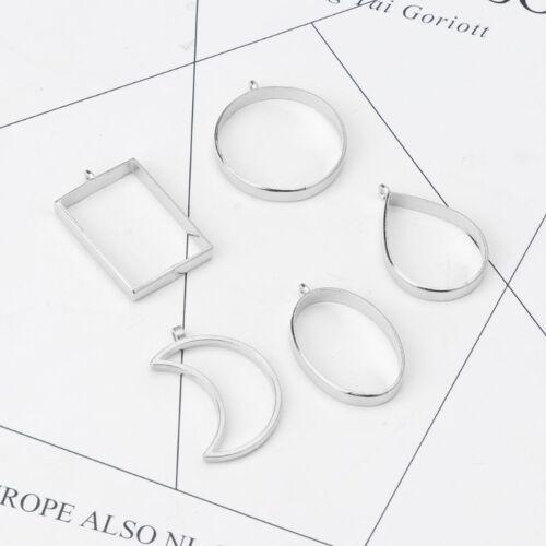 10Pcs Geometric Hollow Pressed Flower Resin Blank Frames Pendants Jewelry Making 7