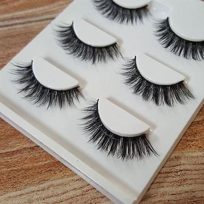 3 Pairs 100% Real 3D Mink Makeup Cross False Eyelashes Eye Lashes Handmade /bw 5