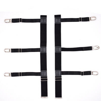 Mens T Shirt Stays Suspender Leg Holders Elastic Garter Non-slip Locking Clamps 8