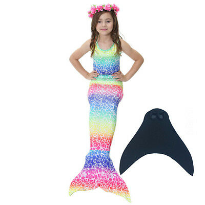 SWIMMABLE MERMAID TAIL With Monofin Swimming Kids Girls Bikini Costumes  Flippers