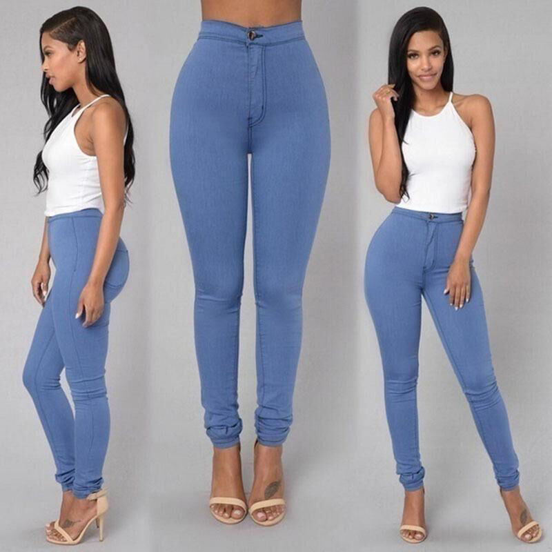 Women Stretch Pencil Pants High Waist Skinny Jeggings Jeans Casual Slim Trousers 3