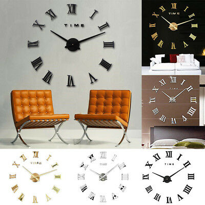 DIY 3D Wall Clock Roman Numerals Large Mirrors Surface Luxury Big Art Clock 5
