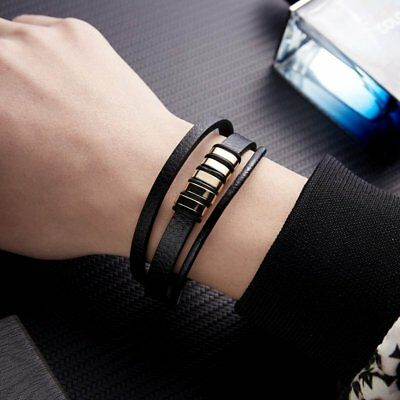 Unisex Women Men Braided Leather Steel Magnetic Clasp Bracelet Handmade 6