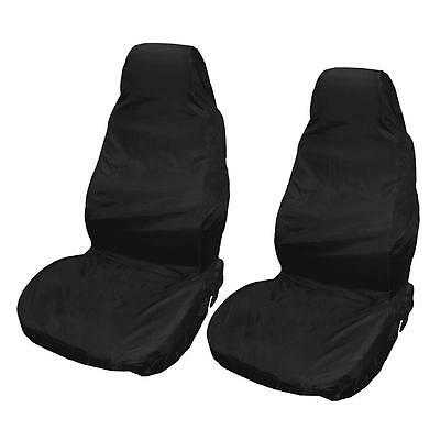 2X Heavy Duty Front Seat Covers Universal Car Van Black Waterproof Protector Uk