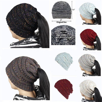 Winter Women Stretch Knit Hat With Tag Messy Bun Ponytail Holey Warm Hats Caps 6