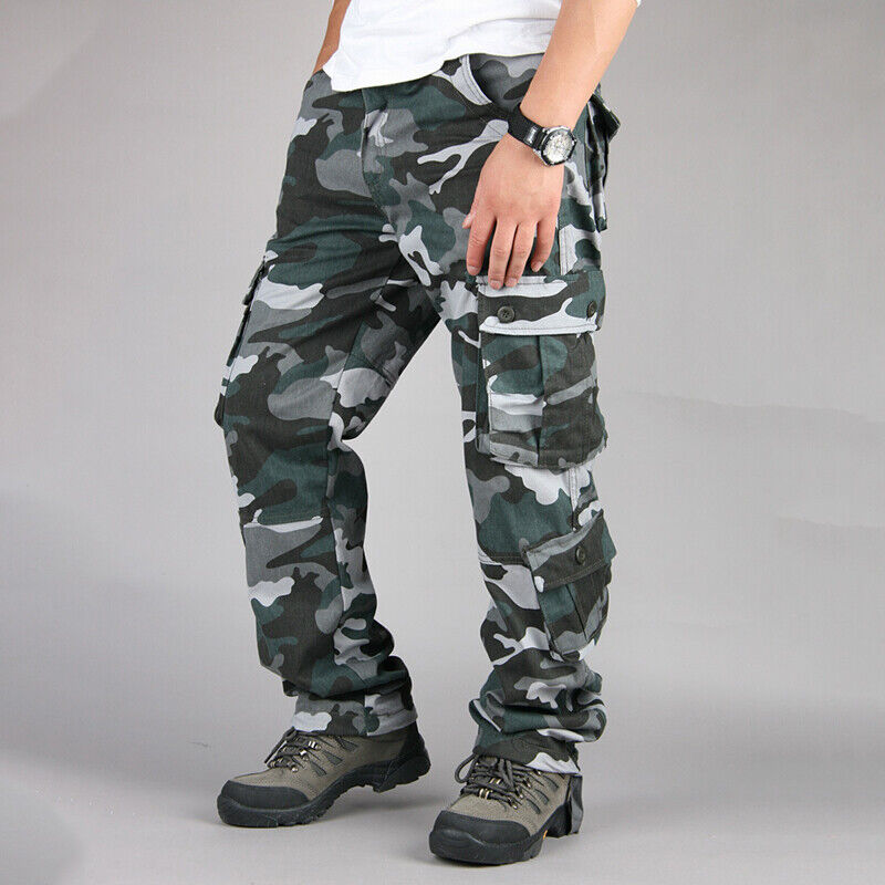 Mens Military Combat Trousers Camouflage Cargo Camo Army Casual Work Long Pants 5