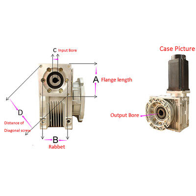 NEMA23 Speed Ratio 30:1 Worm Reducer NMRV030 RV030 Worm Gearbox Speed Reducer 4
