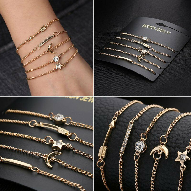 Fashion Women Jewelry Set Rope Natural Stone Crystal Chain Alloy Bracelets Gift 8