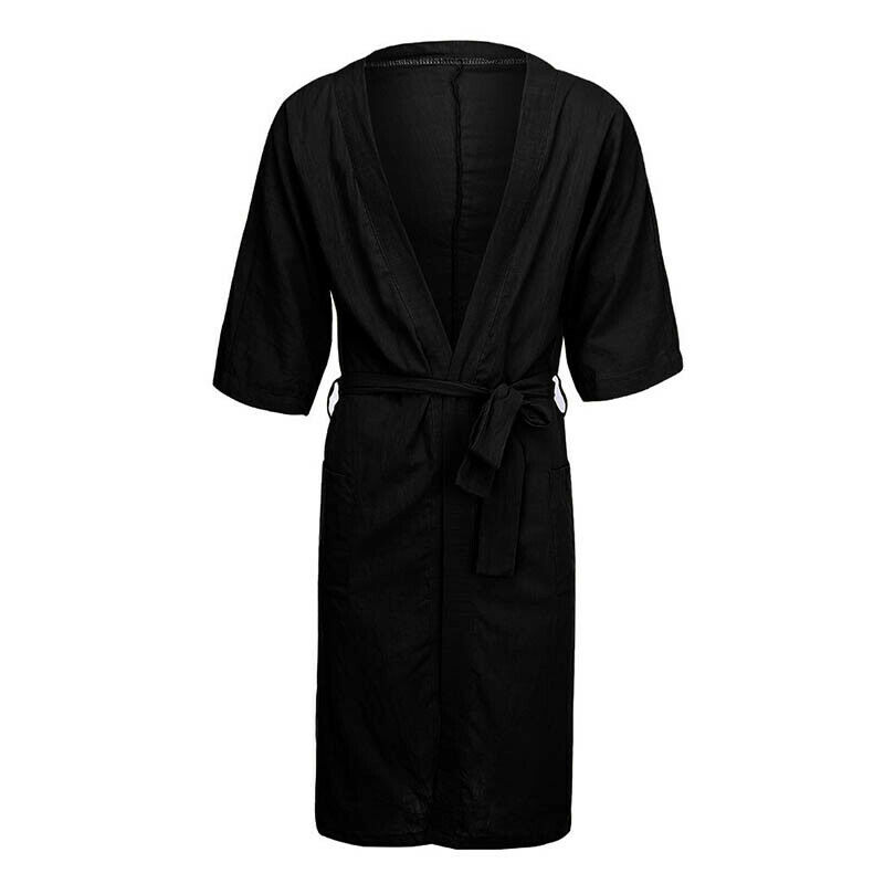 Mens Cotton Linen Pajamas Kimono Bathrobe Robe Dressing Summer Casual Loungewear 8