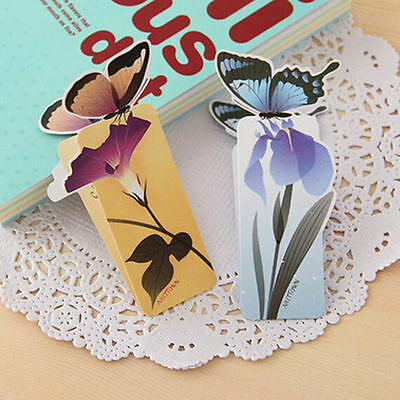 4pc Cute Butterfly On Flower Exquisite Paper Bookmarks Book Markers Readers Gift 7