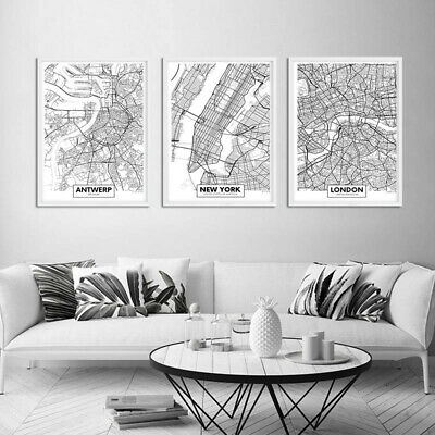 Rotterdam New York London Capital City Map Wall Art Poster Canvas Print Picture 2