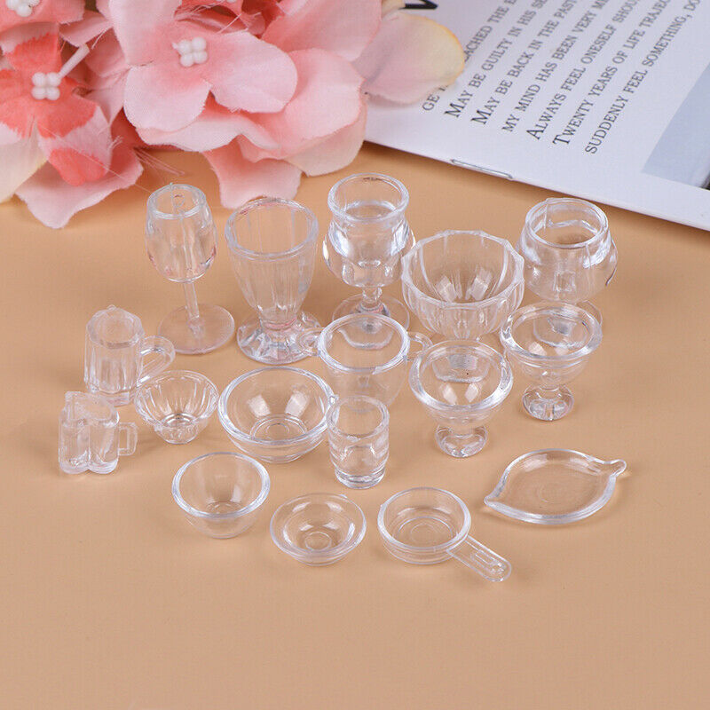 17Pcs/Set 1:12 Dollhouse Miniature Transparent Tableware DIY Pretend Play T IO 4