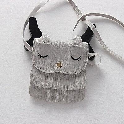 Lovely Children Girls PU Leather Tassel Small Cat Shoulder Messenger Bag Purses