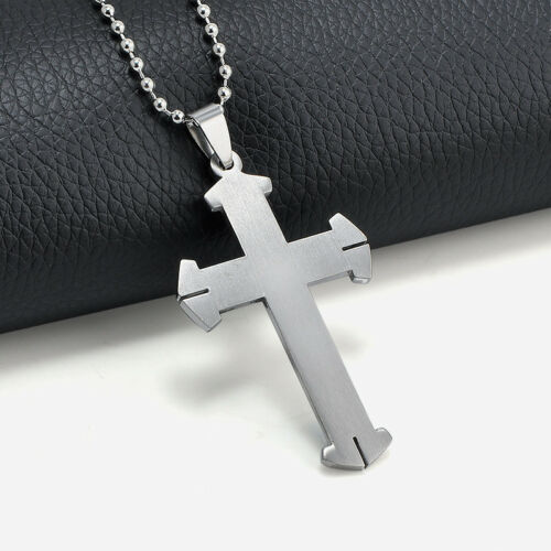 Unisex Men Stainless Steel Cross Blue Silver Pendant Necklace Chain Jewelry Gift 5
