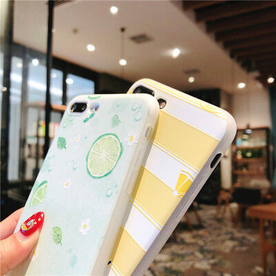 For iPhone X 8 6s 7 Plus Cute Fruits Pattern Slim Relief Matte Soft Case Cover 5