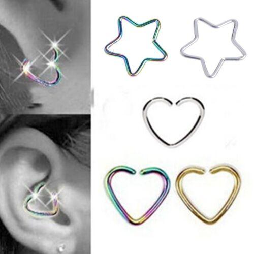 10PCS Heart Star Ring Piercing Hoop Earring Helix Ear Cartilage Tragus Daith hs