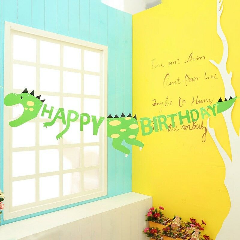 Dinosaur Butings Banner Kids Children Cartoon Fashion Birthday Party Decoration