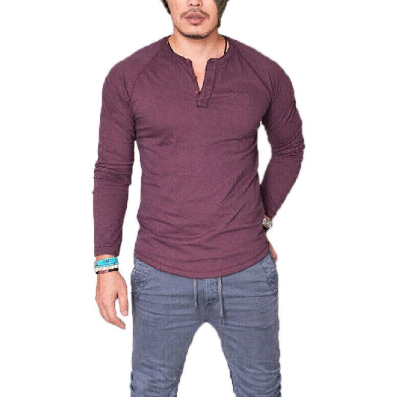 Mens Plain Muscle Tee Long Sleeve V Neck T-Shirt Casual Top Blouse Henley Shirts 6