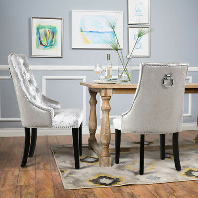 2x Crushed Velvet Upholstered Scoop Back Dining Chairs With Back Ring Kitchen 227 94 Picclick Uk