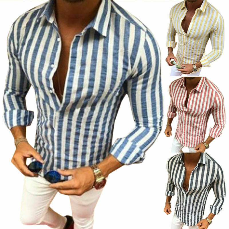 Mens Slim Fit Formal Dress Shirts Long Sleeve Stylish Muscle Tops Blouse T-shirt 5