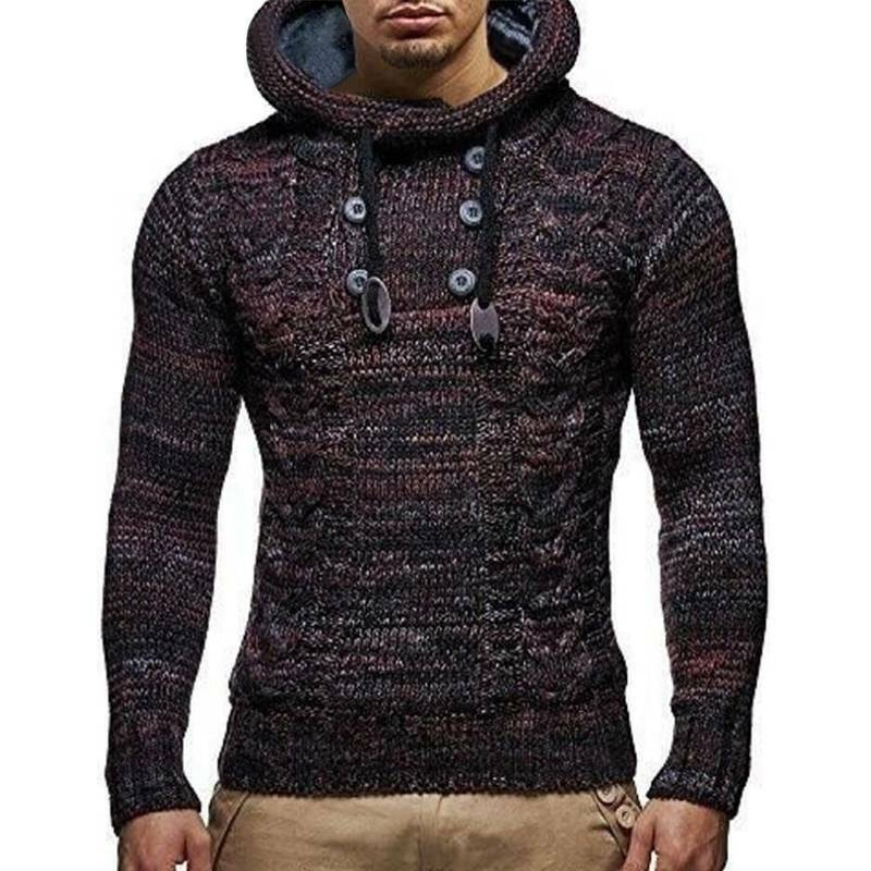 Mens Warm Knitted Hooded Long Sleeve Jumper Pullover Casual Sweater Winter Coat 5