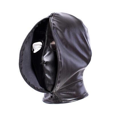 PU Leather Slave Restraint Head Mask Fetish Hood Zipper BDSM Sexy Adult Bondage 5