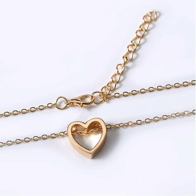 Women Heart Charm Necklace Pendant Choker Chain Gold Silver Black Jewelry Gift 3