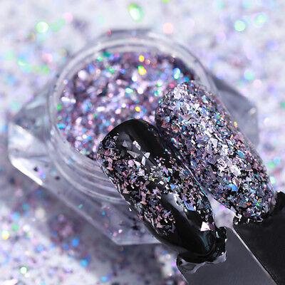 Nail Art Glitter polvo en polvo para UV Gel acrílico de lentejuelas manicura DIY