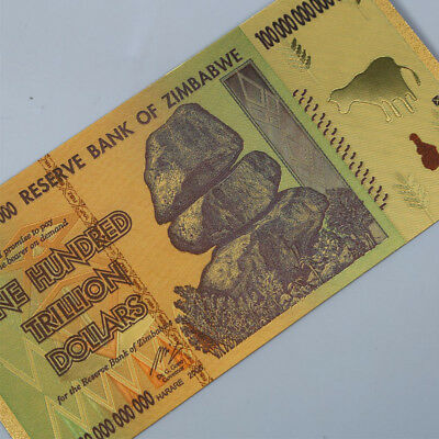 10pcs Zimbabwe 100 Trillion Dollars Banknote Gold Foil Bill World Money Collect 3