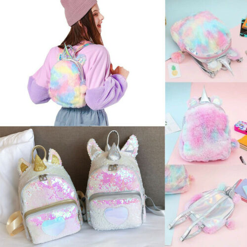 UK Women Girls Unicorn Sequin Fluffy Backpack Plush School Bag Handbag Children
