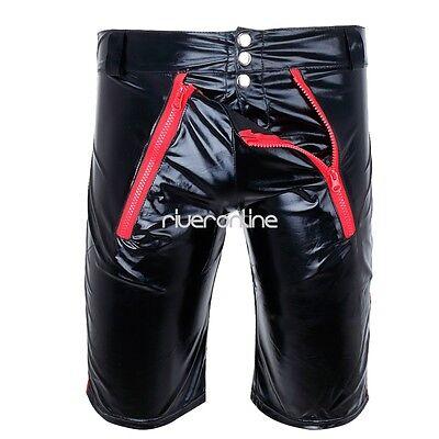 Sexy Herren Lack Leder Wetlook Shorts Glanz Unterhose Kurze Hose Zipper Schwarz 2