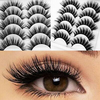 5Pair 3D Mink False Eyelashes Wispy Cross Long Thick Soft Fake Eye Lashes  UK 3
