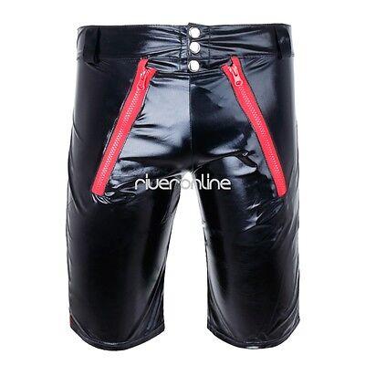 Sexy Herren Lack Leder Wetlook Shorts Glanz Unterhose Kurze Hose Zipper Schwarz 5