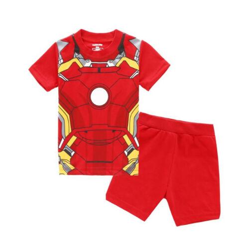 5ab7d2b0e5868 Enfants Bébés Pyjama Super Héros T-Shirt Manche Courte Short Costume  Ensemble 4 4 sur 5 ...