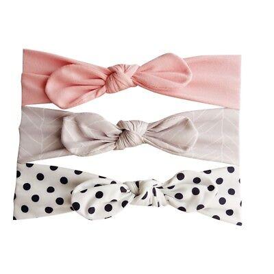 3pcs/Set Baby Girl Headband Ribbon Elastic Headdress Kids Hair Band Newborn Bow 9