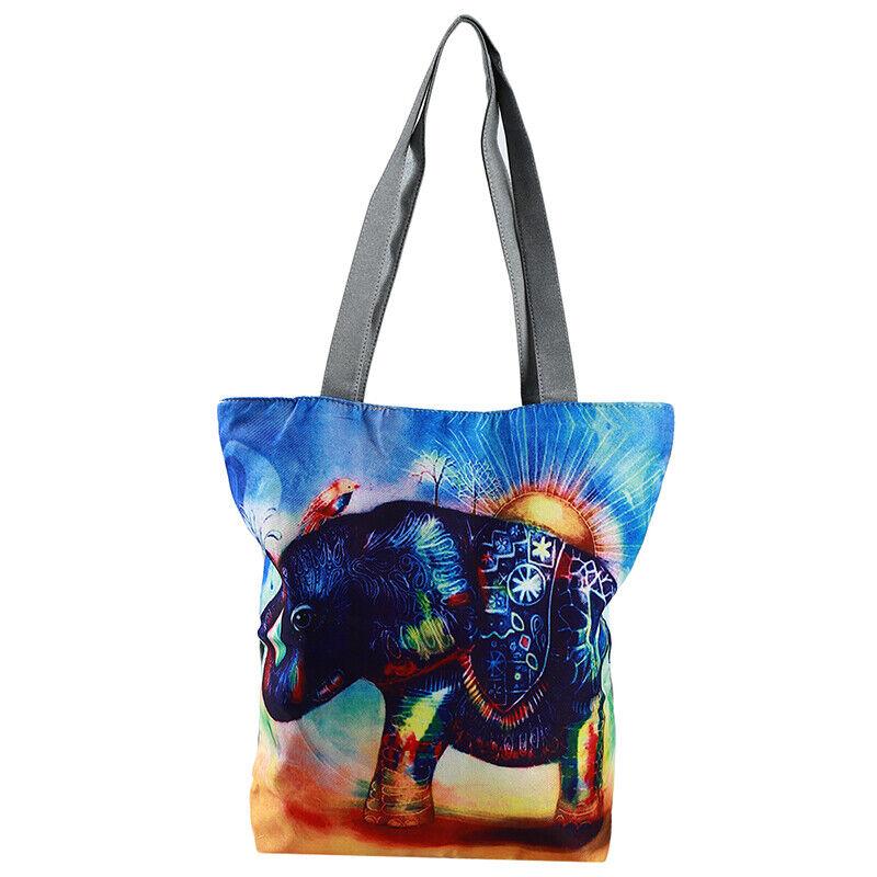 Handbag Elephant Printed Tote Casual Beach Bags Shoulder Shopping Casual JJ 4