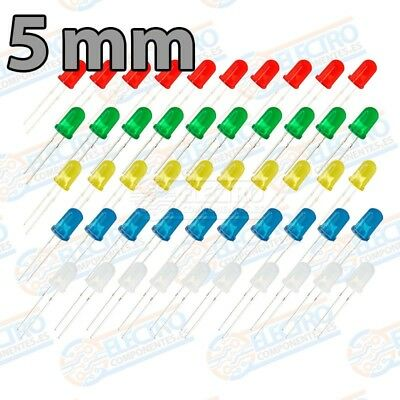 Kit 50 LED Difuso 5mm 20mA - 5 colores - Arduino Electronica DIY