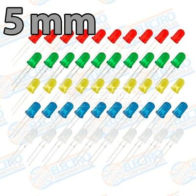Kit 50 LED Difuso 5mm 20mA - 5 colores - Arduino Electronica DIY 2