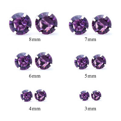 Fashion Woman Silver Plated Round Cubic Zirconia Crystal Stud Earrings Jewelry 2