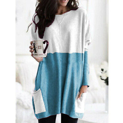 Women Long Sleeve Pocket Autumn Tunic Tops Loose Casual Blouse T-Shirt Plus Size 11